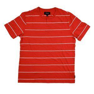 Brixton Shirt Men's Medium Red White Stripes Crew